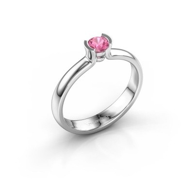 Engagement ring Ophelia 585 white gold pink sapphire 4 mm