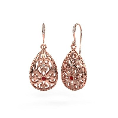 Picture of Drop earrings Idalia 2 375 rose gold ruby 2 mm