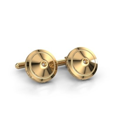 Foto van Manchetknopen Demian 585 goud zirkonia 2.2 mm