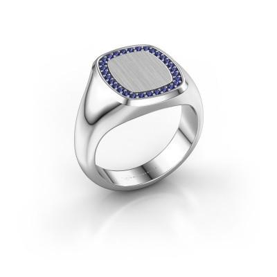 Heren ring Floris Cushion 3 950 platina saffier 1.2 mm
