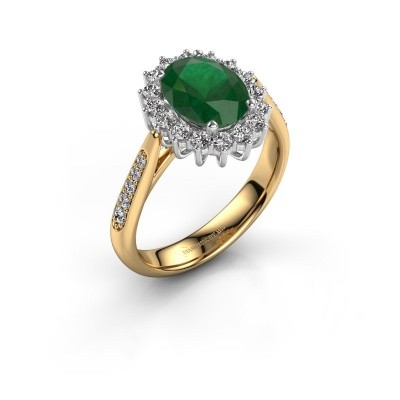 Verlovingsring Margien 2 585 goud smaragd 7x5 mm