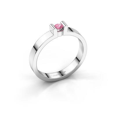 Verlovingsring Sofie 1 925 zilver roze saffier 3 mm