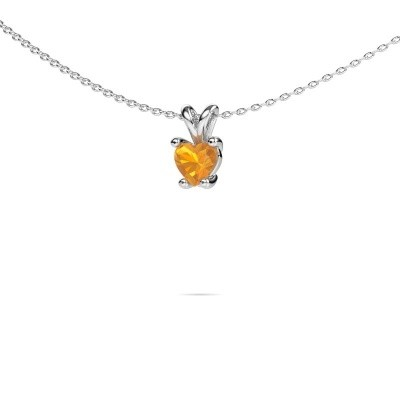 Foto van Ketting Sam Heart 585 witgoud citrien 5 mm