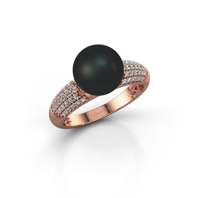 Foto van Ring Anisa 375 rosé goud zwarte parel 9 mm