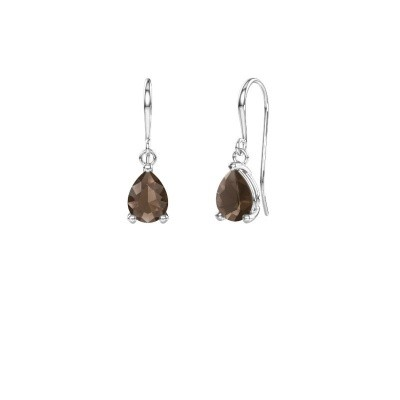 Picture of Drop earrings Laurie 1 375 white gold smokey quartz 8x5 mm