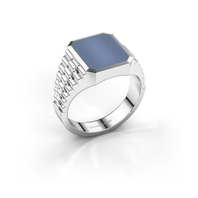 Foto van Rolex stijl ring Brent 2 585 witgoud licht blauwe lagensteen 12x10 mm