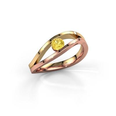 Foto van Ring Sigrid 1 585 rosé goud gele saffier 4 mm