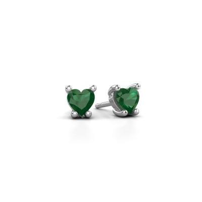Foto van Oorbellen Sam Heart 585 witgoud smaragd 5 mm