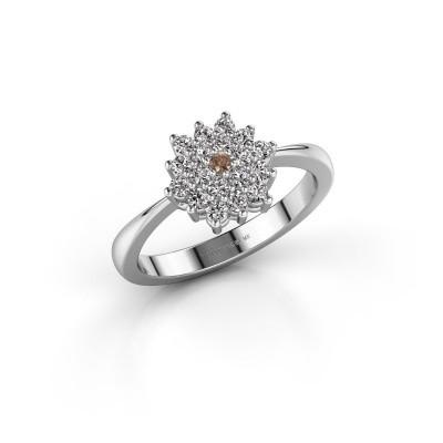 Verlovingsring Vickey 1 585 witgoud bruine diamant 0.02 crt