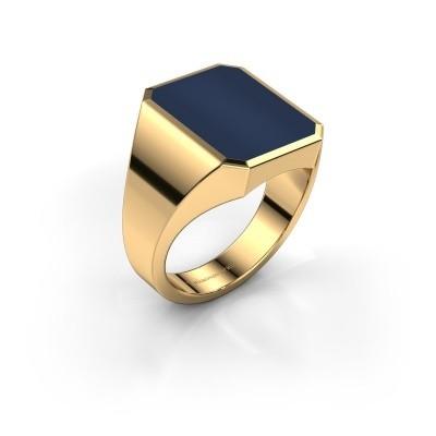 Foto van Zegelring Lars 4 585 goud donker blauw lagensteen 15x12 mm