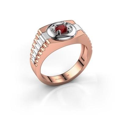 Foto van Heren ring Edward 585 rosé goud robijn 4.7 mm