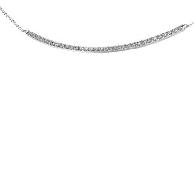 Bar ketting Simona 585 witgoud zirkonia 1.5 mm