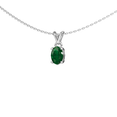 Ketting Lucy 1 925 zilver smaragd 7x5 mm