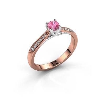Foto van Verlovingsring Mia 2 585 rosé goud roze saffier 4.2 mm