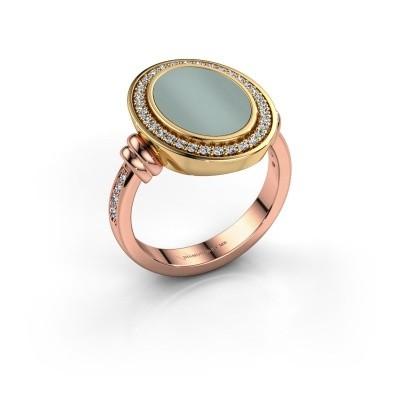 Foto van Heren ring Servie 585 rosé goud groene lagensteen 14x10 mm