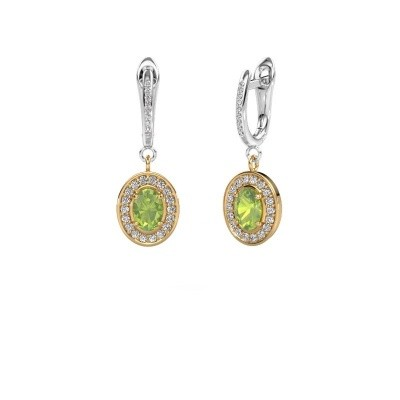 Picture of Drop earrings Layne 2 585 gold peridot 7x5 mm