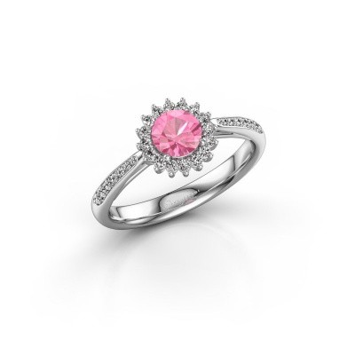 Engagement ring Tilly RND 2 585 white gold pink sapphire 5 mm