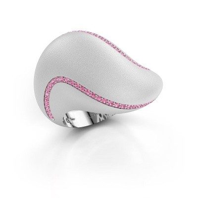 Foto van Ring Phyliss 585 witgoud roze saffier 1 mm