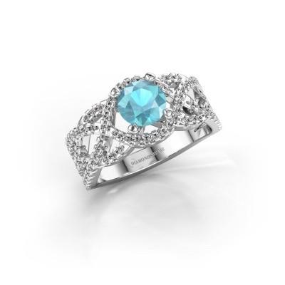 Foto van Verlovingsring Jeni 585 witgoud blauw topaas 6.5 mm