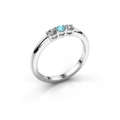 Foto van Verlovingsring Michelle 3 585 witgoud blauw topaas 3 mm