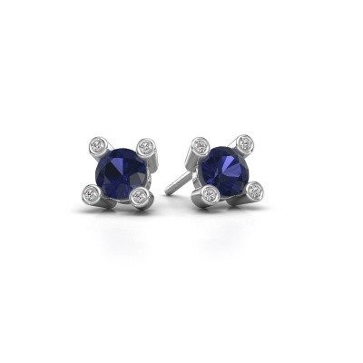 Picture of Stud earrings Cornelia Round 925 silver sapphire 6 mm