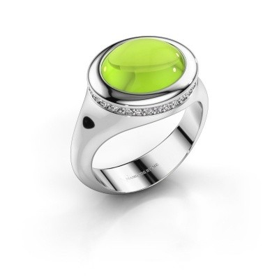 Picture of Ring Lesli ovl 375 white gold peridot 12x10 mm
