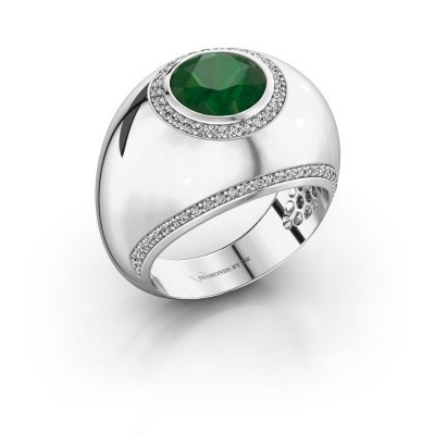 Ring Roxann 925 silver emerald 8 mm