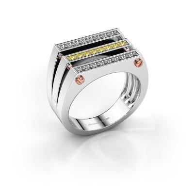 Heren ring Jauke 585 witgoud gele saffier 1.7 mm