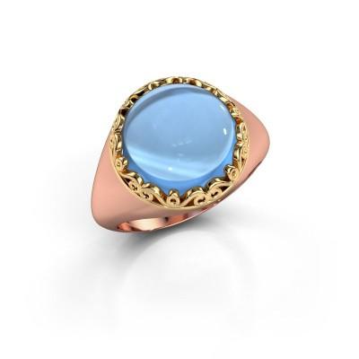 Ring Birgit 585 rosé goud blauw topaas 12 mm