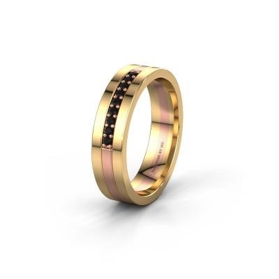 Trouwring WH0413L15AP 585 rosé goud zwarte diamant ±5x1.7 mm