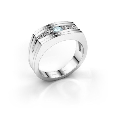 Foto van Heren ring Huub 925 zilver aquamarijn 3.7 mm