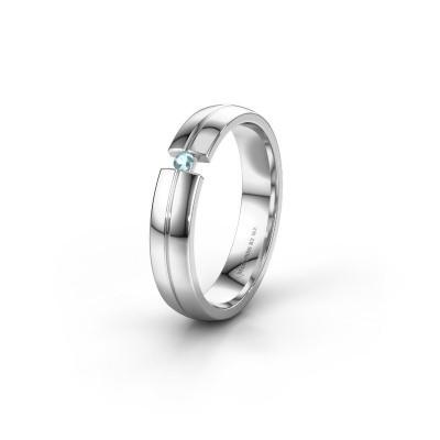 Wedding ring WH0254L24X 950 platinum aquamarine ±0.16x0.06 in