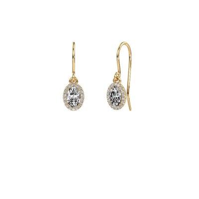 Picture of Drop earrings Seline ovl 375 gold zirconia 6x4 mm