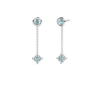 Picture of Drop earrings Ardith 585 white gold aquamarine 2 mm