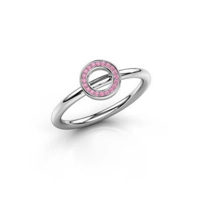 Ring Shape round small 925 zilver roze saffier 0.8 mm