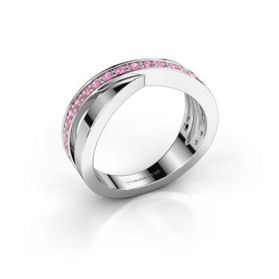 Ring Essie 585 witgoud roze saffier 1.5 mm