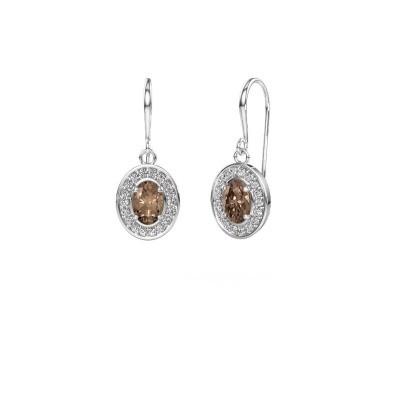 Foto van Oorhangers Layne 1 950 platina bruine diamant 1.66 crt
