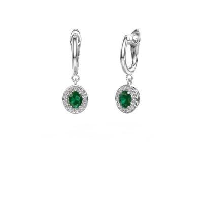 Drop earrings Nakita 950 platinum emerald 5x4 mm