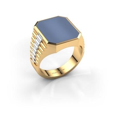 Zegelring Brent 4 585 goud licht blauwe lagensteen 16x13 mm