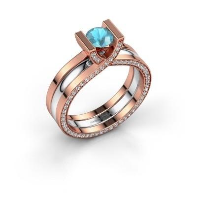 Foto van Ring Kenisha 585 rosé goud blauw topaas 5 mm