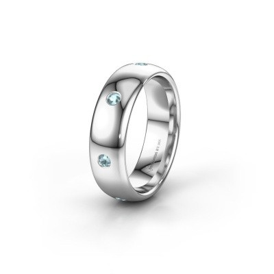 Wedding ring WH0105L36BP 925 silver aquamarine ±6x2 mm
