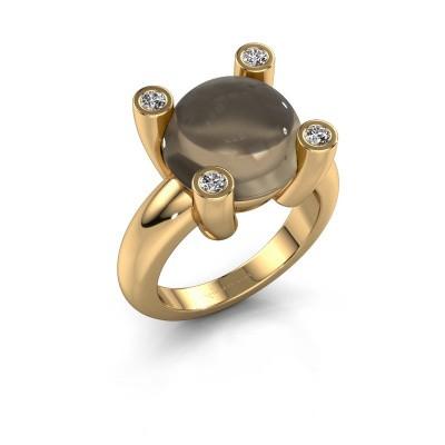 Ring Janice RND 585 goud rookkwarts 12 mm
