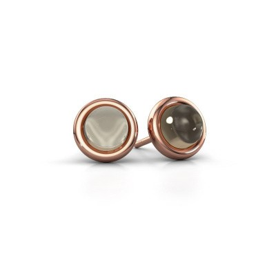 Oorstekers Jodi 375 rosé goud rookkwarts 6 mm