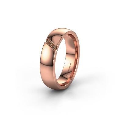 Trouwring WH0174L25BP 375 rosé goud bruine diamant ±5x2 mm