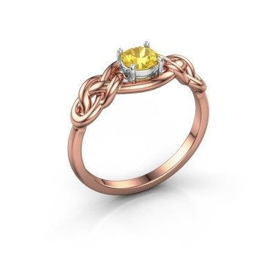 Foto van Ring Zoe 585 rosé goud gele saffier 5 mm