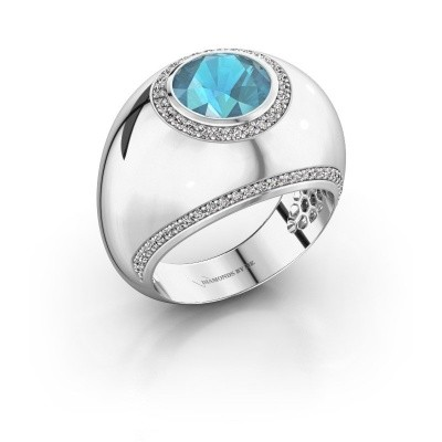 Photo de Bague Roxann 585 or blanc topaze bleue 8 mm