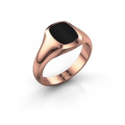 Signet ring Zelda 1 375 rose gold onyx 10x8 mm