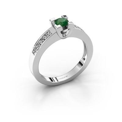 Aanzoeksring Anne 2 925 zilver smaragd 4.2 mm