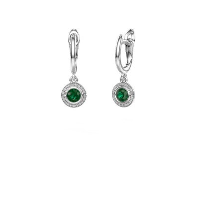 Picture of Drop earrings Noud RND 585 white gold emerald 4 mm