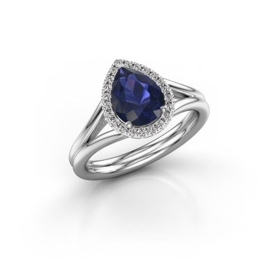 Picture of Engagement ring Elenore 950 platinum sapphire 8x6 mm